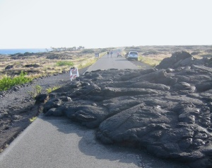 Lava flow on road in Volcanoes National Park, Big Island, Hawaii