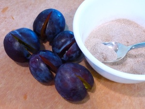 Italian prune plums and cinnamon sugar